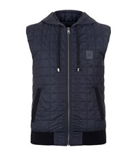 Dolce And Gabbana Quilted Hooded Gilet Male Blue