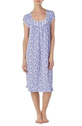 Eileen West Floral Print Nightgown Lilac