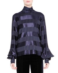 Giorgio Armani Striped Mock Neck Bell Sleeve Top Navy