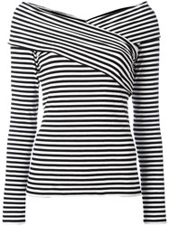 Theory Boat Neck Striped Blouse Black