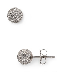 Nadri Small Crystal Ball Earrings Silver