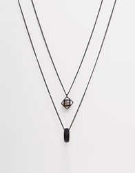 Asos Geo Necklace With Semi Precious Stone Black