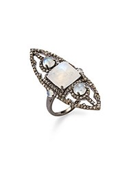 Bavna Diamond Moonstone And Sterling Silver Ring