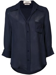 L'agence Casual Shirt Women Silk M Blue