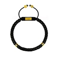 Clariste Jewelry Men's Ceramic Bead Bracelet Black And Gold