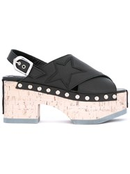 Mcq By Alexander Mcqueen Metallic Studded Wedge Sandals Women Cork Leather Rubber 40 Black