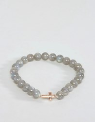 Simon Carter Beaded Bracelet With Rose Gold Cross Grey
