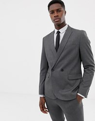 Only And Sons Double Breasted Suit Jacket Grey
