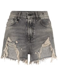 R 13 R13 Shredded Ripped Hem Denim Shorts Black