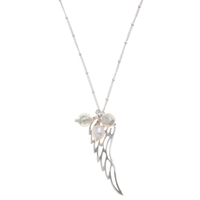 Martick Angel Wing Pendant Necklace Silver White