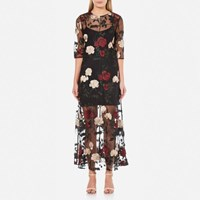 Ganni Women's Simmons Floral Sheer Dress Black