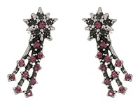 Marc Jacobs Charms Celestial Crystal Shooting Star Studs Earrings Amethyst Antique Silver Earring Brown