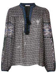 Ulla Johnson Printed Long Sleeve Blouse Blue