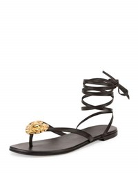 Saint Laurent Pieds Nus Leather Ankle Wrap Sandal Black Nero