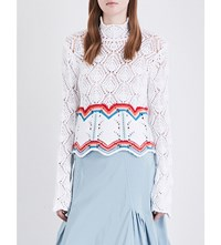 Peter Pilotto Striped High Neck Knitted Jumper White
