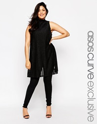 Asos Curve Tunic With High Neck In Sparkle Stripe Black