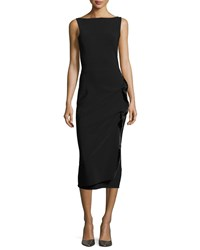 La Petite Robe Di Chiara Boni Branka Boat Neck Sleeveless Midi Cocktail Dress W Zipper Detail Black