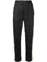 Andrea Crews Checked Band Track Pants Black