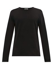 Jil Sander Long Sleeved Cotton Blend T Shirt Black