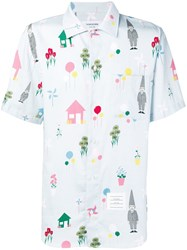 Thom Browne Gnome Print Polo Collar Shirt Blue