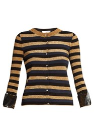 Sonia Rykiel Sequin Embellished Striped Knit Cardigan Navy Multi