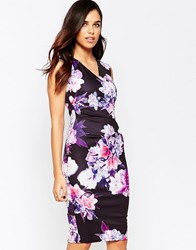 Jessica Wright Erin Cross Front Floral Pencil Dress Multi Floral