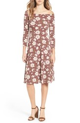 Soprano Women's Off The Shoulder Floral Print Fit And Flare Dress Tan Floral