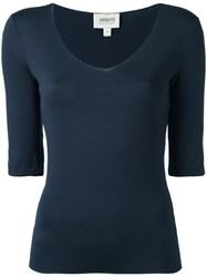 Armani Collezioni Scoop Neck Top Blue