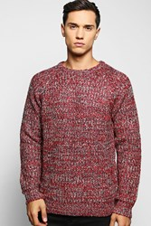 Boohoo Fisherman Cable Knit Sweater Red