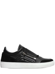 D S De Micro Studded Leather And Suede Sneakers
