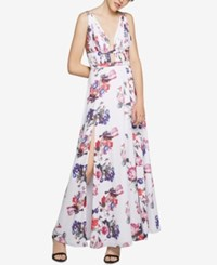Fame And Partners Printed Georgette Dress With Thigh High Slit Coral Print