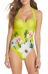 Ted Baker London Chatsworth Bloom One Piece Swimsuit Light Green