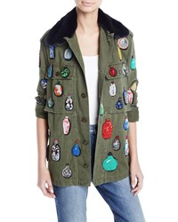 Libertine Button Front Cotton Jacket W Beaded Ornament Detail Dark Green