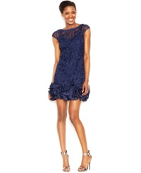 Jessica Simpson Floral Lace Ruffle Hem Sheath Navy