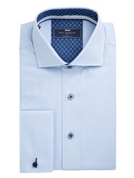 Paul Costelloe Men's Mario Textured Cotton Shirt Blue