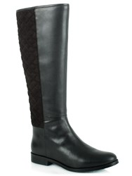 Daniel Acaster Leather Quilted Knee High Boots Black