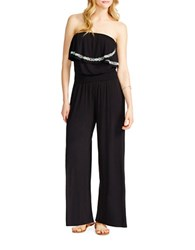 Jessica Simpson Davina Embroidered Jersey Strapless Jumpsuit Black
