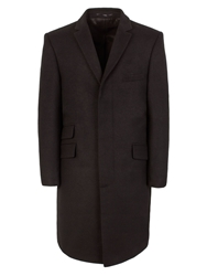 Alexandre Savile Row Melton Formal Button Overcoat Black