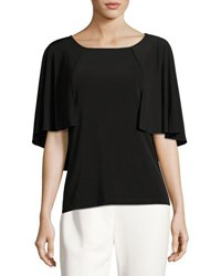Tahari By Arthur S. Levine Capelet Sleeve Jersey Blouse Black