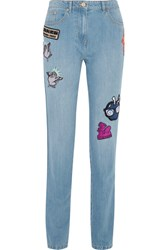 Kenzo Appliqued Slim Boyfriend Jeans Mid Denim