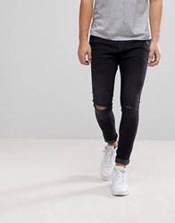 Bershka Super Skinny Jeans With Rips In Black Black