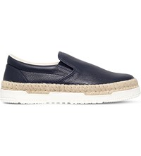 Valentino Pointbreak Grain Leather Skate Shoes Navy