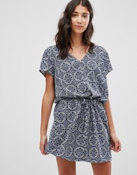 Jdy Printed V Neck Dress Maza Blue