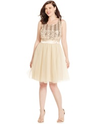 Trixxi Plus Size Sequined Babydoll Party Dress Gold