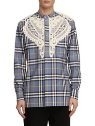 Burberry Soutache Lace Applique Plaid Shirt Pewter Blue