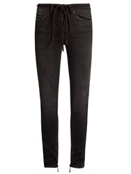 Off White High Rise Skinny Jeans Black