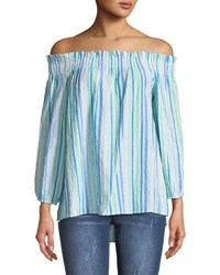 Cynthia Steffe Off The Shoulder Ruched Striped Blouse Blue