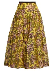 Red Valentino Floral Print Cotton And Silk Blend Midi Skirt Yellow Multi