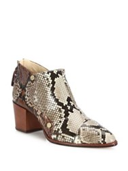 Alexandre Birman Python Block Heel Booties Whisky