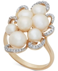 Macy's Cultured Freshwater Pearl 4 6Mm And Diamond 1 10 Ct. T.W. Cluster Ring In 14K Gold